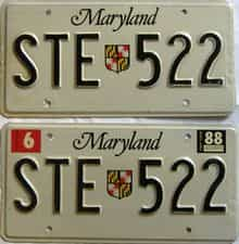 1988 Maryland  (Pair) license plate for sale