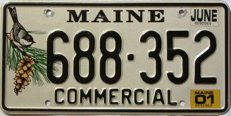2001 Maine  (Single) license plate for sale