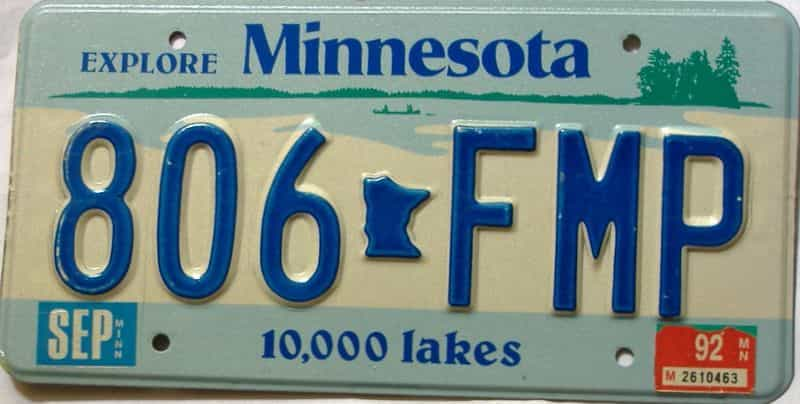 1992 Minnesota  (Single) license plate for sale