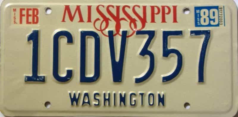 1989 Mississippi license plate for sale