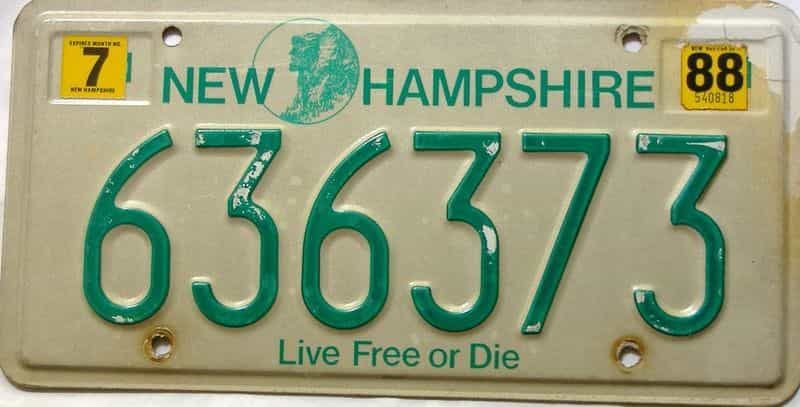 1988 New Hampshire  (Single) license plate for sale