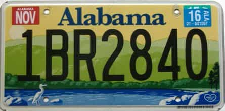2016 Alabama license plate for sale