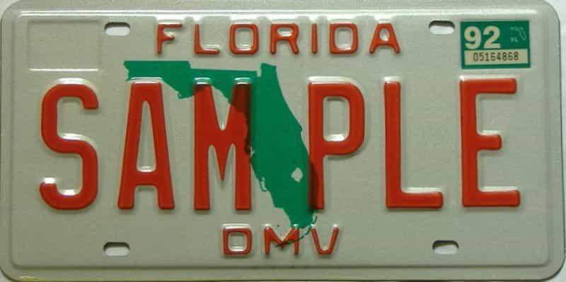 1992 Florida  (Sample) license plate for sale