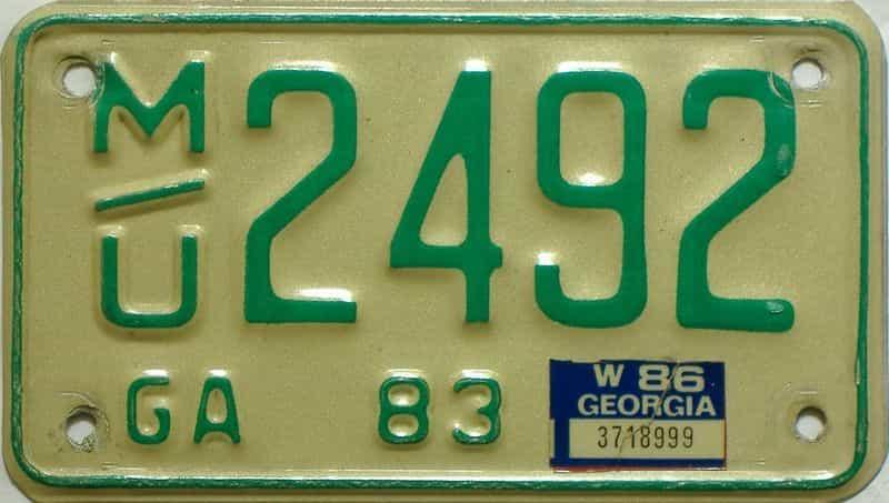 YOM 1986 Georgia YOM 1971 - 1989 license plate for sale