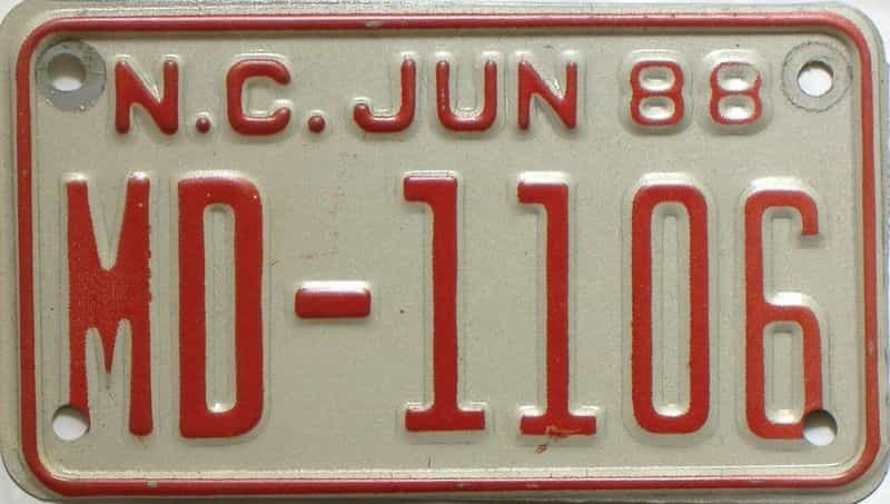1988 North Carolina  (Motorcycle) license plate for sale