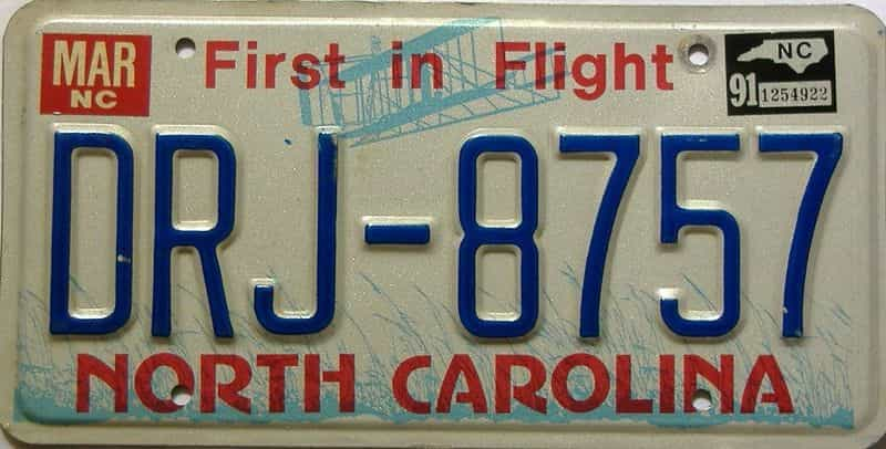1991 North Carolina license plate for sale