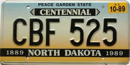 1989 North Dakota  (Single) license plate for sale