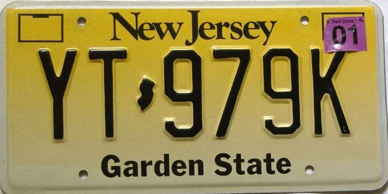 2001 New Jersey  (Single) license plate for sale