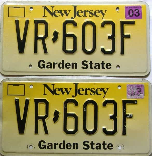 2003 New Jersey  (Pair) license plate for sale
