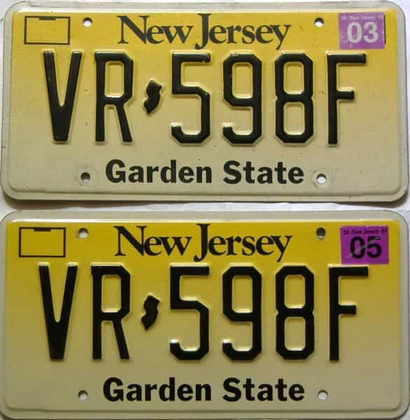 2005 New Jersey  (Pair) license plate for sale