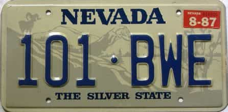 1987 Nevada license plate for sale