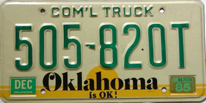1985 Oklahoma  (Non Passenger) license plate for sale