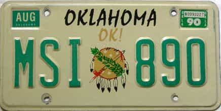 1990 Oklahoma license plate for sale