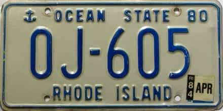 1984 Rhode Island  (Single) license plate for sale