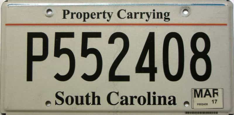 2017 South Carolina  (Non Passenger) license plate for sale