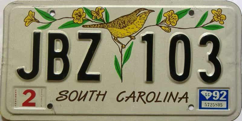 1992 South Carolina license plate for sale