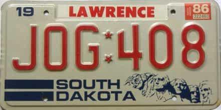 1986 South Dakota  (Single) license plate for sale