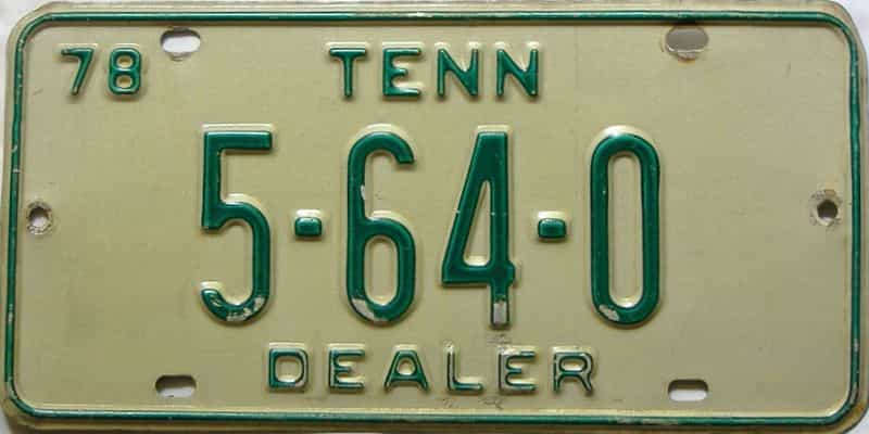 1978 Tennessee  (Dealer) license plate for sale