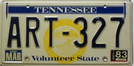 1983 Tennessee license plate for sale