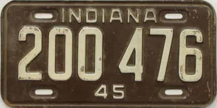1945 Indiana license plate for sale