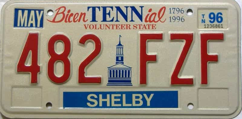 1996 Tennessee license plate for sale