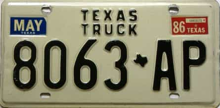 1986 Texas  (Truck) license plate for sale