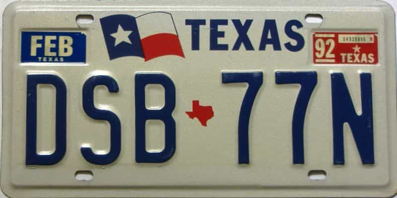 1992 Texas  (Single) license plate for sale