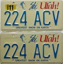 1986 Utah  (Pair) license plate for sale
