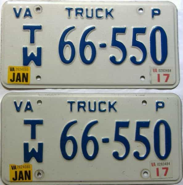 2017 Virginia  (Pair) license plate for sale