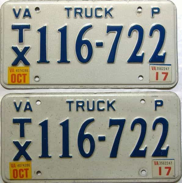 2017 Virginia  (Truck) license plate for sale
