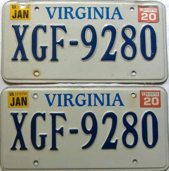2020 Virginia  (Pair) license plate for sale
