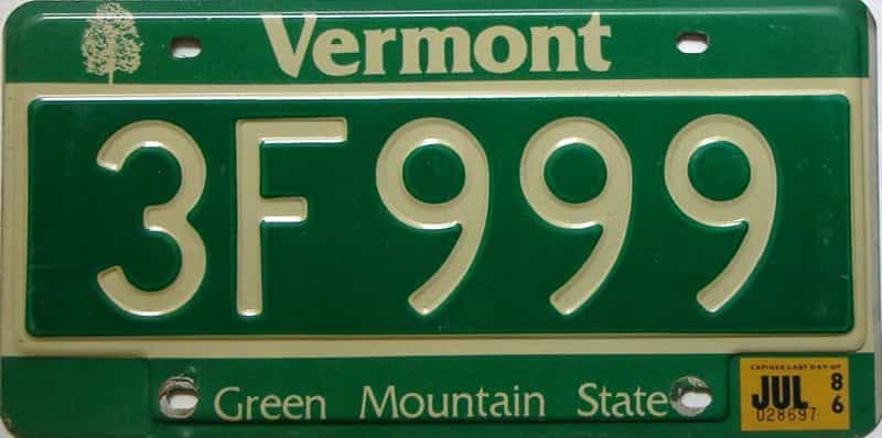 1986 Vermont  (Single) license plate for sale