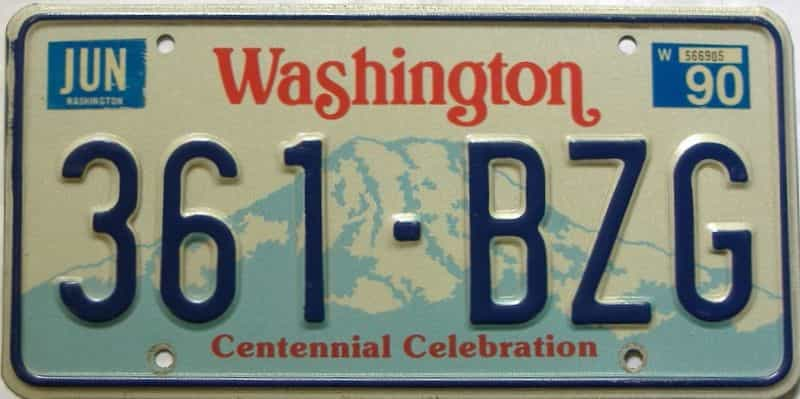 1990 Washington  (Single) license plate for sale