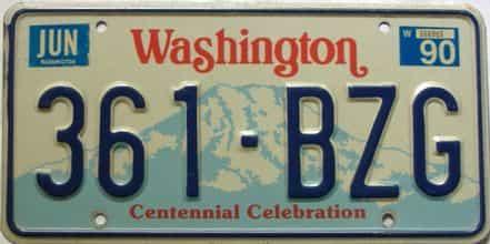 1990 Washington  (Single) license plate for sale