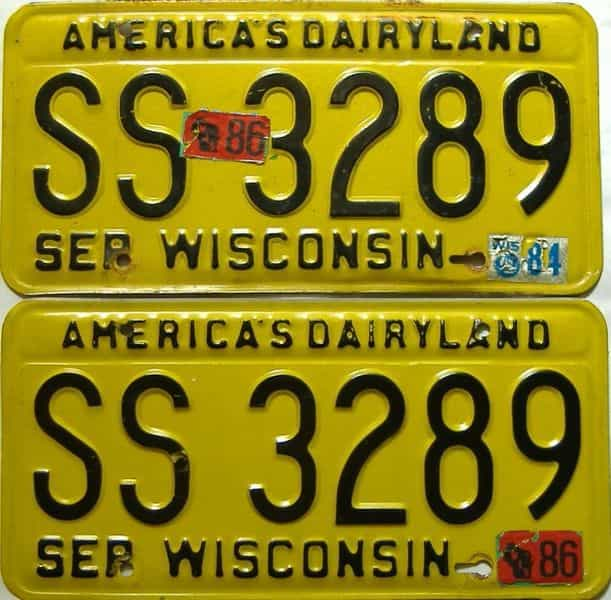 1986 Wisconsin  (Pair) license plate for sale