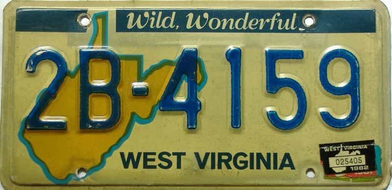 1982 West Virginia license plate for sale