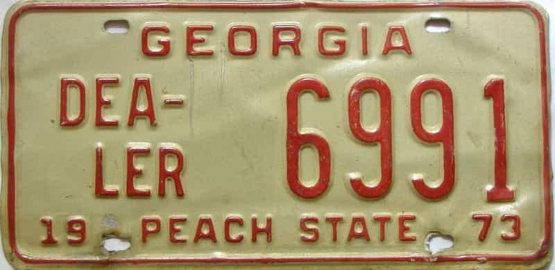 1973 Georgia  (Dealer) license plate for sale
