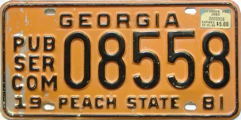 1981 Georgia  (Non Passenger) license plate for sale