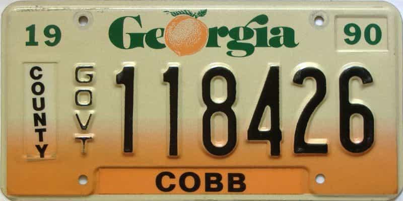 1990 Georgia license plate for sale