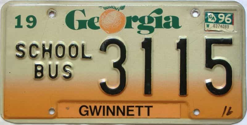 1996 Georgia license plate for sale