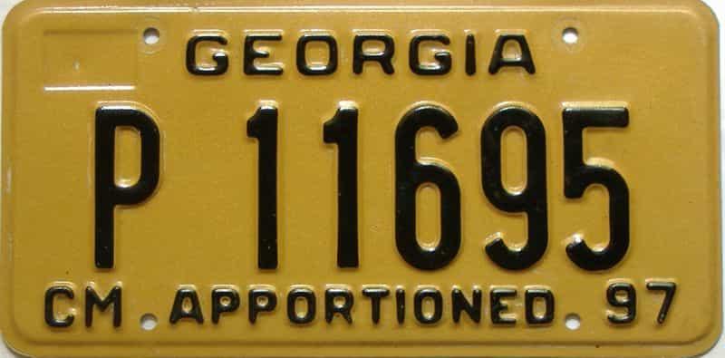 1997 Georgia  (Non Passenger) license plate for sale