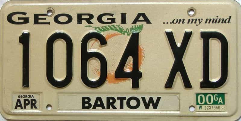 2000 Georgia license plate for sale