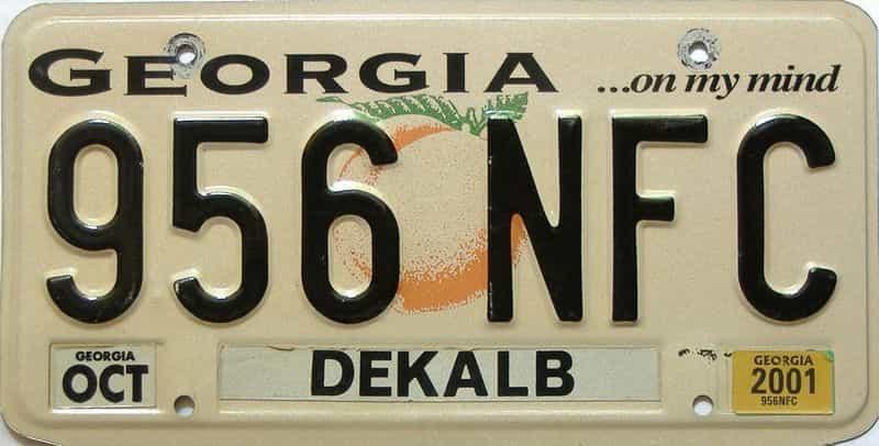 2001 Georgia license plate for sale