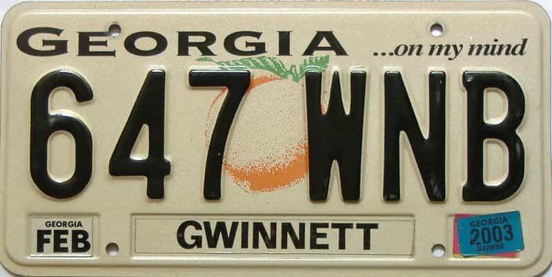 2003 Georgia license plate for sale