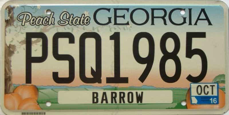 2016 Georgia license plate for sale