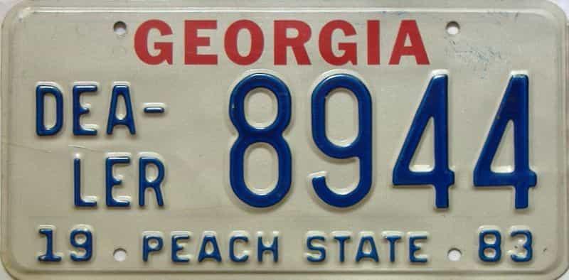 1983 Georgia  (Dealer) license plate for sale