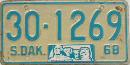 1968 South Dakota license plate for sale