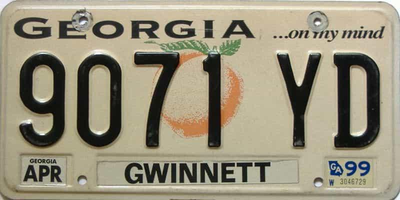 1999 Georgia license plate for sale