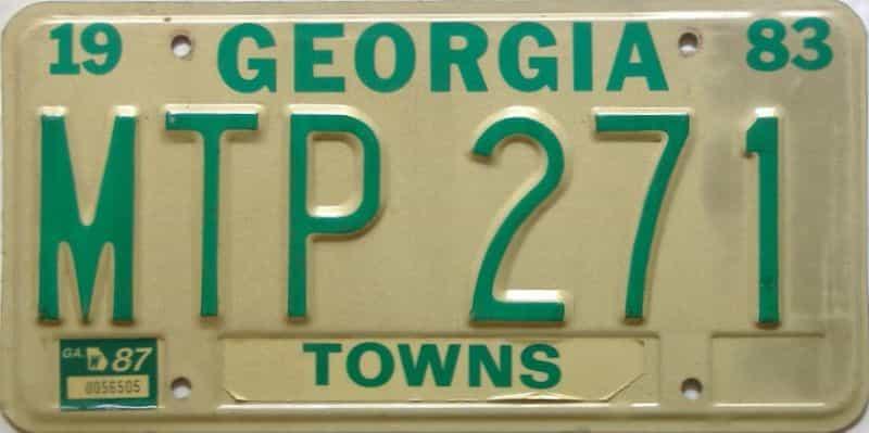 YOM 1987 Georgia YOM 1971 - 1989 license plate for sale
