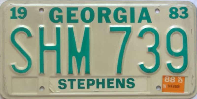 YOM 1988 Georgia YOM 1971 - 1989 license plate for sale